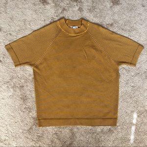 Vintage mustard yellow striped turtleneck tee